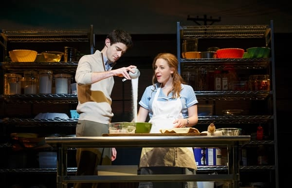 Drew Gehling (Dr Pomatter) and Jessie Mueller (Jenna) in Waitress, on Broadway (Photo © Joan Marcus 2016)