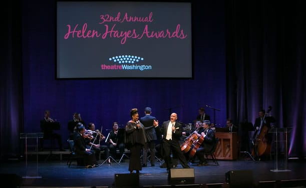 Hosts E. Faye Butler and Lawrence Redmond open up the 2016 Helen Hayes Awards at the Lincoln Theatre (Photo: Daniel Schwartz Photography)
