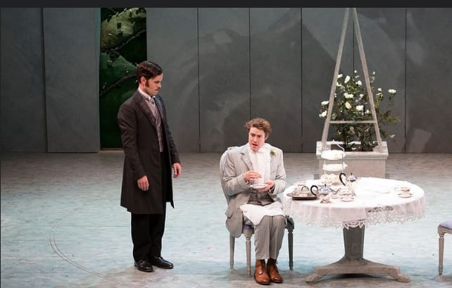 John Worthing (Michael Ford-FitzGerald), left, and Algernon Moncrief (Alex Felton) in Gate Theatre's production of The Importance of Being Earnest at Spoleto Festival 2016 (Photo: Julia Lynn Photography)