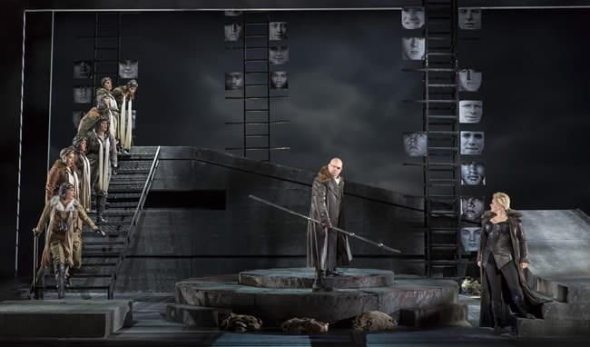 Alan Held as Wotan and the Valkyries in Washington National Opera's The Valkyrie (Photo: Scott Suchman)