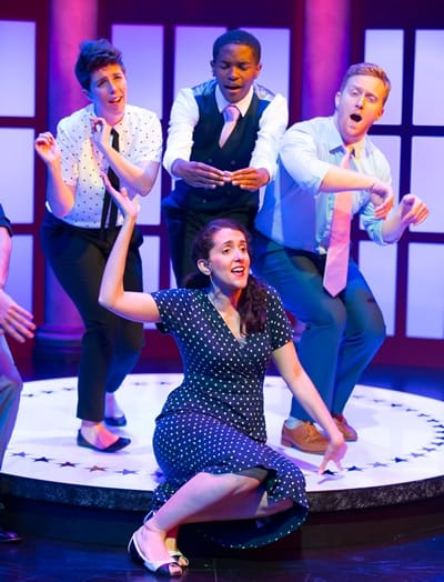 Marla Caceres (front), Ryan Asher, Tyler Davis, Andrew Knox in The Second City's Almost Accurate Guide to America (Photo: Scott Suchman)