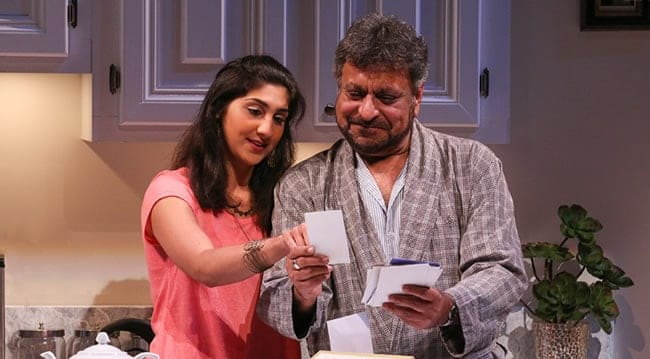 Olivia Khoshatefeh (Mahwish) and Tony Mirrcandani (Afzal) in The Who & The What at Round House Theatre. (Photo: Cheyenne Michaels)