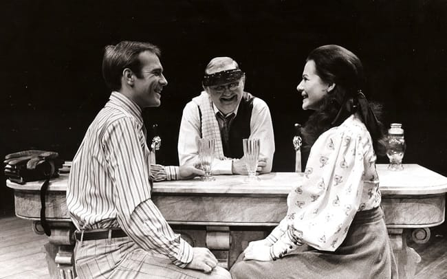 From Our Town, Arena Stage 1973: (l-r) Gary Bayer, Robert Prosky (stage manager character as soda jerk), Diane Wiest. (Photo: Fletcher Drake)