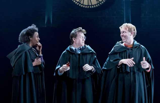 Noma Dumezweni (Hermione), Jamie Parker (Harry) and Paul Thornley (Ron) in Harry Potter and the Cursed Child. (Photo: Manuel Harlan/PA, The Guardian)