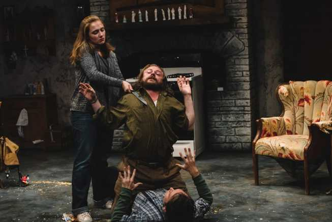 (top to bottom) Sarah Chapin, Matthew Keenan and Bradley Foster Smith in The Lonesome West at Keegan Theatre (Photo: Cameron Whitman Photography)