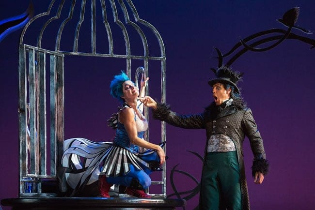 Meg Gillentine as the Magpie and Calvin Griffin as Fabrizio Vingradito in The Glimmerglass Festival's production of Rossini's The Thieving Magpie. (Photo: Karli Cadel/The Glimmerglass Festival)