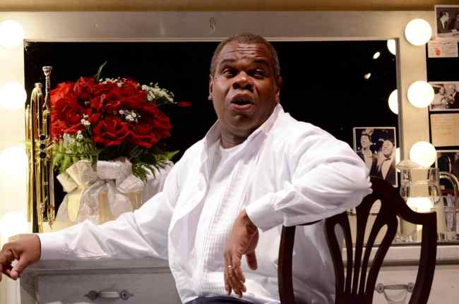 Craig Wallace as Louis Armstrong in Satchmo at the Waldorf from Mosaic Theater Company of DC (Photo by Stan Barouh)
