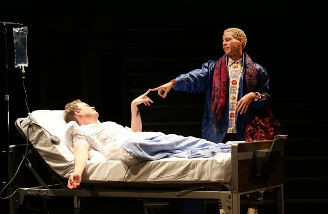 Tom Story as Prior Walter and Jon Hudson Odom as Belize in Round House Theatre and Olney Theatre Center's production of Angels in America Part I: Millennium Approaches. (Photo: Danisha Crosby)