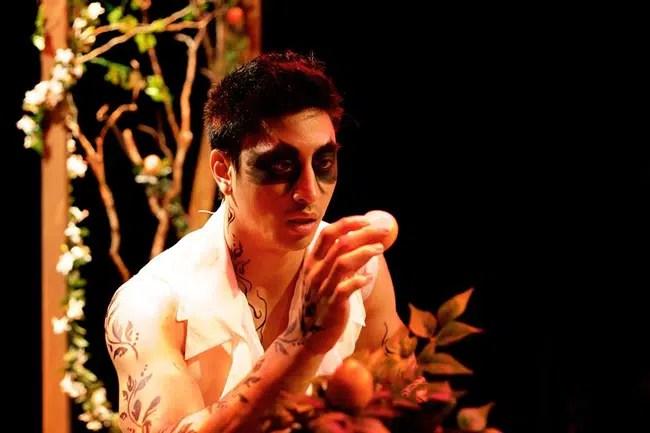 Dallas Tolentino as Death in A Bid to Save the World at Rorschach Theatre (Photo: Ryan Maxwell)