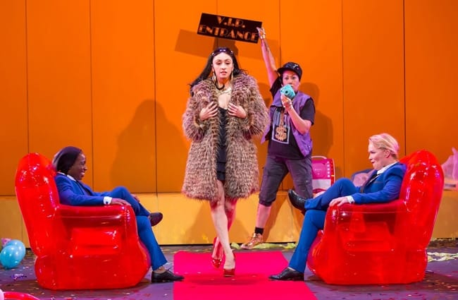 Felicia Curry, Natascia Diaz, Kate Rigg, Beth Hylton in in Collective Rage: A Play in Five Boops at Woolly Mammoth Theatre (Photo: Scott Suchman)
