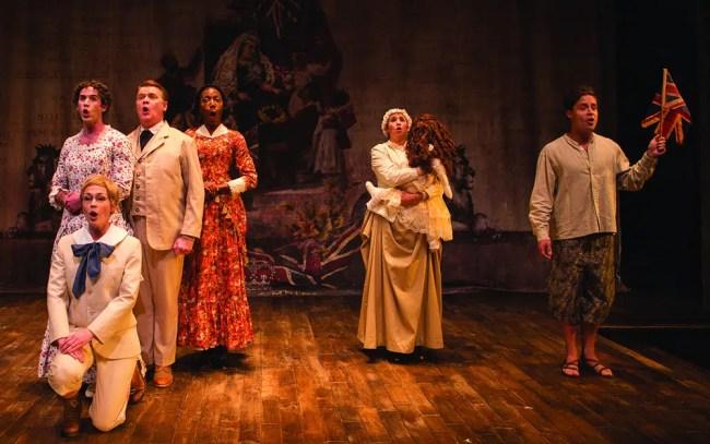 (l-r) Laura C. Harris, John Scherer, Joy Jones, Holly Twyford, Phillippe Bowgen at Studio Theatre. Photo: Teresa Wood