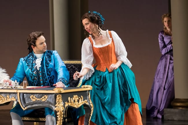 Joshua Hopkins as Count Almaviva, Lisette Oropesa as Susanna, and Amanda Majeski as Countess Almaviva in The Marriage of Figaro by Washington National Opera.. (Photo by Scott Suchman)