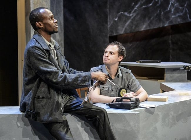 "(l to r) Justin Weaks and Aaron Bliden in ""Lobby Hero"" at 1st Stage. (Photo: Teresa Castracane)"