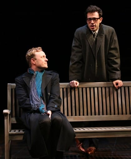 Tom Story as Prior Walter and Jonathan Bock as Louis in Round House Theatre and Olney Theatre Center's production of Angels in America Part I: Millennium Approaches. (Photo: Danisha Crosby)