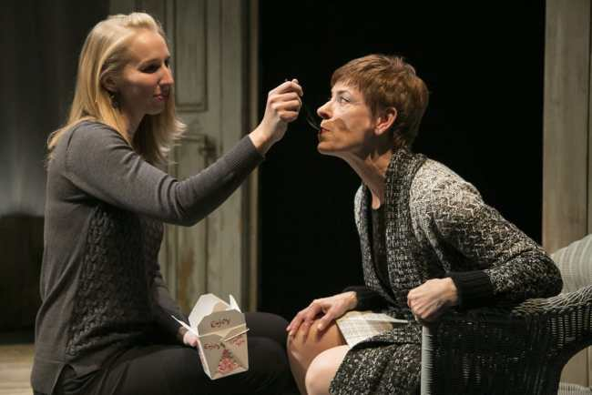 "(l-r) Julie-Ann Elliott as ""Juliana"" and Maggie Robertson as ""The Woman"" in The Other Place at Rep Stage (Photo: Katie Simmons-Barth)"