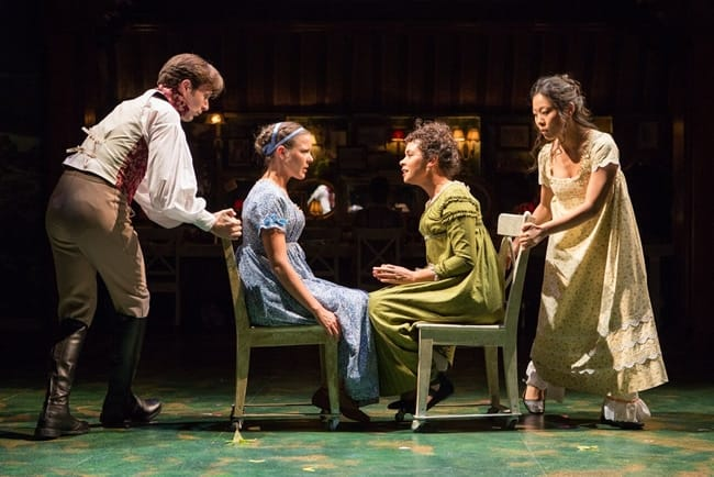 Ready to roll. (seated l-r) Ms. Lucy Steele (Kathryn Tkel, right) confides in her new acquaintance, Elinor Dashwood (Maggie McDowell) with Jacob Fishel and Nicole Kang in Jane Austen's Sense & Sensibility at Folger Theatre (Photo: Teresa Wood)