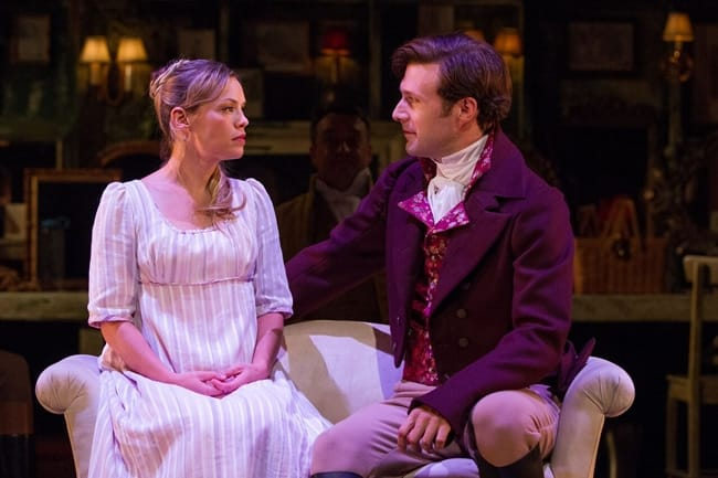 Marianne (Erin Weaver) shares a private moment with her love, John Willoughby (Jacob Fishel) in Sense & Sensibility at Folger Theatre (Photo: Teresa Wood)