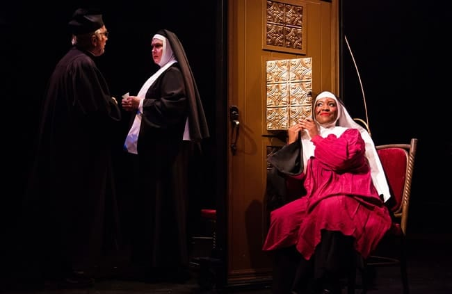 (l-r) Robert Biedermann 125 as Monsignor O'Hara, Lynn Sharpe Spears as Mother Superior and Ashley Johnson as Sister Mary Clarence in Sister Act at Toby's Dinner Theatre (Photo: Jeri Tidwell Photography)
