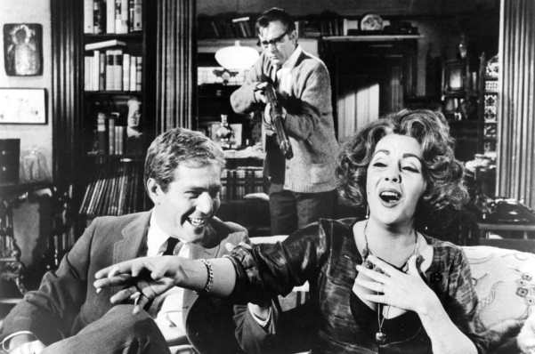 Who's Afraid of Virginia Woolf? 1966 film version with (r-l) George Segal, Richard Burton and Elizabeth Taylor