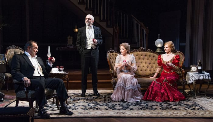 Edward Gero as Benjamin Hubbard, Gregory Linington as Oscar Hubbard, Isabel Keating as Birdie Hubbard and Marg Helgenberger as Regina Giddens in Lillian Hellman's The Little Foxes at Arena Stage (Photo: C. Stanley Photography)