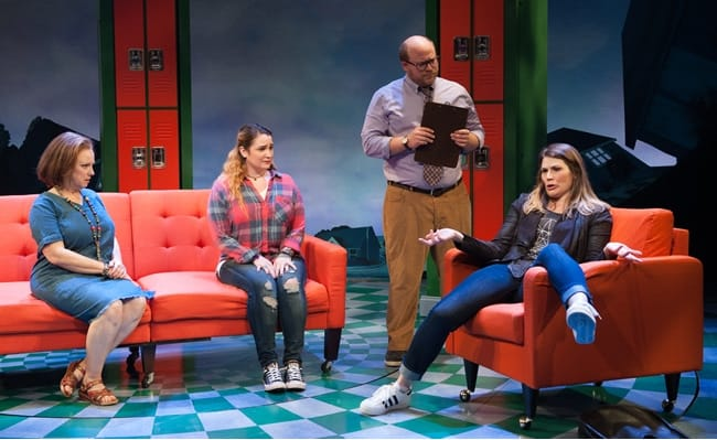 Sherri L. Edelen (Mrs. Luckenbill), Emma Hunton (Ellie Blake), Jason SweetTooth Williams (Dr. Ehrin) and Heidi Blickenstaff (Katherine Blake) in Disney's Freaky Friday at Signature Theatre (Photo: Margot Schulman)