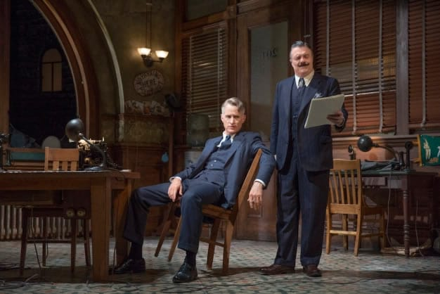John Slattery (left) and Nathan Lane in 'The Front Page' at the Broadhurst Theater (Photo: Julieta Cervantes)