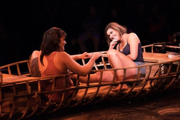 Rachel Zampelli (Kendra) and Maria Rizzo (Betty) in The Gulf at Signature Theatre (Photo: Margot Schulman)