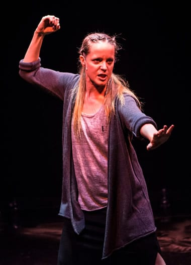 Esther Williamson as the Poet in An Iliad from Taffety Punk. (Photo: Teresa Castracane)
