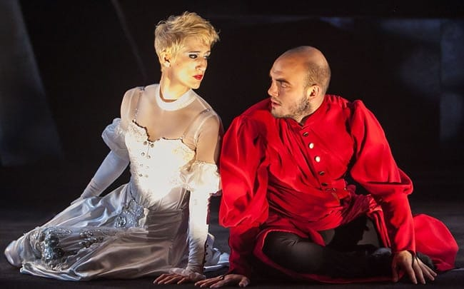 Tori Bertocci (Beatrice) and Vato Tsikurishvili (Dante) in Synetic Theater's Dante's Inferno (Photo: Koko Lanham)