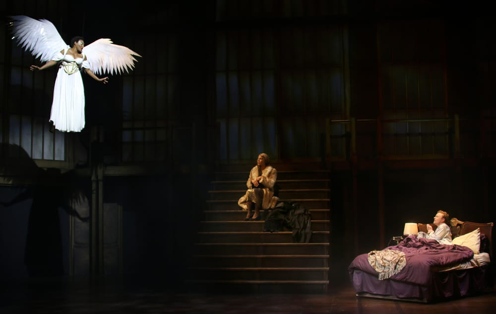 Dawn Ursula (The Angel), Jon Hudson Odom (Belize) and Tom Story (Prior Walter) in Round House Theatre and Olney Theatre Center's production of Angels in America Part II: Perestroika. (Photo: Danisha Crosby)