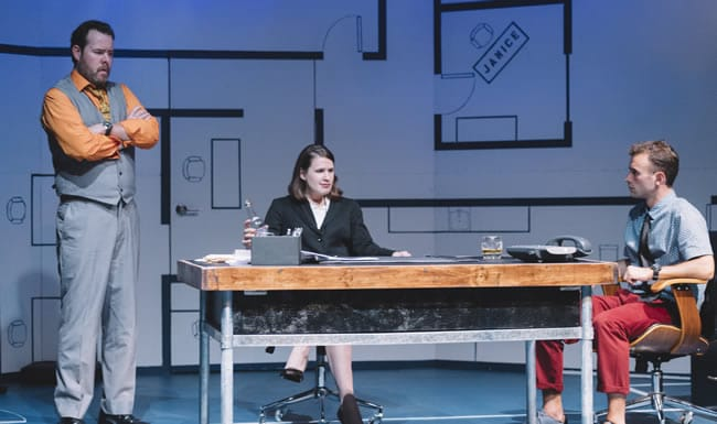 Peter Finnegan, Brianna Letourneau, Stephen Russell Murray in What We're Up Against at Keegan Theatre (Photo: Cameron Whitman Photography)