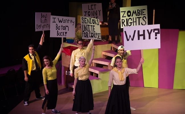 The cast as students of Enrico Fermi High in Unexpected Stage Company's production of Zombie Prom (Photo credit: Rachel Ellis)