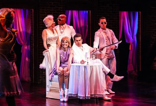 Emily Padgett, Donald Jones, Jr., Sutton Foster, Joel Perez, Cody Williams in Sweet Charity. Photo by Monique Carboni