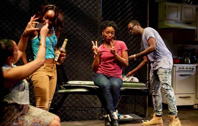 l-r) Ghislaine Dwarka as Margie, Renee Elizabeth Wilson as Talisha, Kashayna Johnson as Annie, and Jeremy Keith Hunter as Antwoine in Milk Like Sugar at Mosaic Theater Company of DC (Photo: Ryan Maxwell)