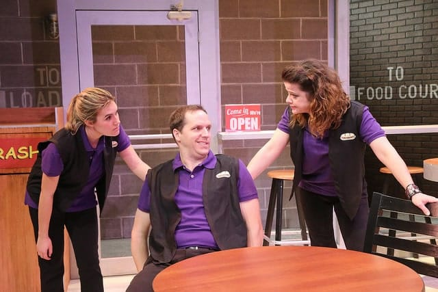 Liliana Evans as Sheri, Eric Messner as Ted and Megan Anderson as Jamie in American Hero at Rep Stage (Photo: Katie Simmons-Barth)