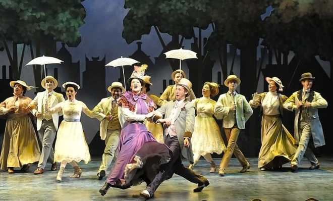 Patricia Hurley (Mary Poppins), Rhett Guter (Bert) and the cast of Olney Theatre Center's Mary Poppins. (Photo: Stan Barouh)
