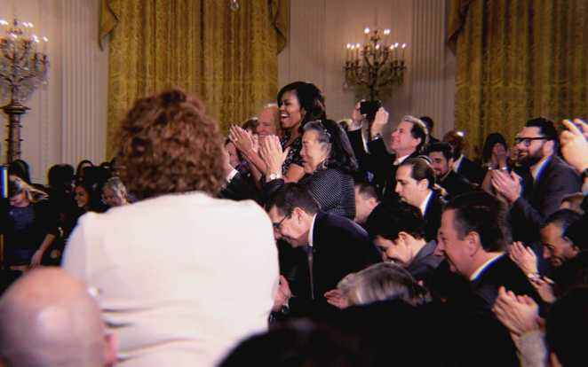 Michelle Obama and White House guests applaud the recipients of the National Arts and Humanities Youth Program Awards