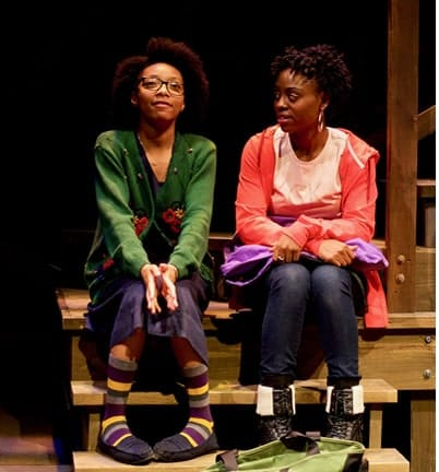 l-r) Tyasia Velines as Keera and Kashayna Johnson as Annie in Milk Like Sugar at Mosaic Theater Company of DC (Photo: Ryan Maxwell)