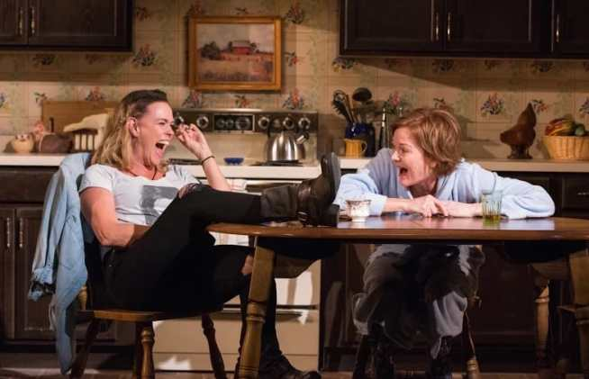 Beth Hylton (Robyn) and Deb Haslett (Sharon) in Jen Silverman's The Roommate at Everyman Theatre (Photo: Stan Barouh.)