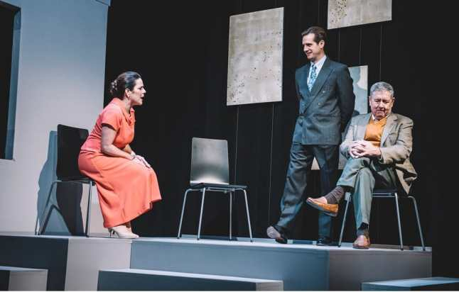 Susan Marie Rhea, Ray Ficca and Kevin Adams in Six Degrees of Separation at Keegan Theatre (Photo: Cameron Whitman)