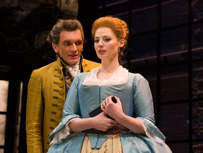 Brent Harris and Gillian Williams in Les Liaisons Dangereuses at Center Stage (Photo: Richard Anderson)