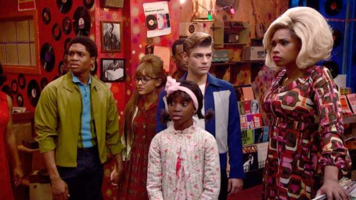 (l-r) Ephraim Sykes, Ariana Grane, Shahadi Wright Joseph, Garrett Clayton and Jennifer Hudson in Hairspray Live! (Photo: NYC)