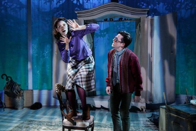 Audrey Bertaux as Mr. Tumnus and Chris Dinolfo as Edmund in The Lion, the Witch and the Wardrobe at Adventure Theatre MTC. (Photo by Michael Horan)