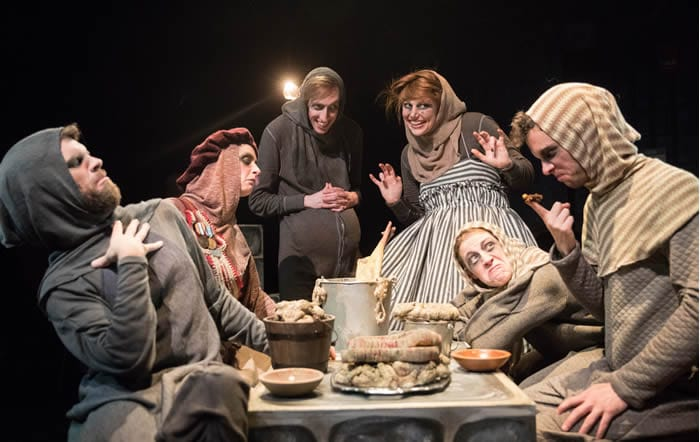 (l-r) Nick Martin, Lee Gerstenhaber, Colin Connor, Haely Jardas, Mary Myers, Scott Whalen in King Ubu from Pointless Theatre (Photo: DJ Corey)