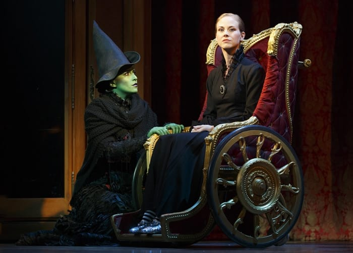 Jessica Vosk as Elphaba and Kristen Martin as Nessarose in the National Tour of Wicked at The Kennedy Center (Photo: Joan Marcus)