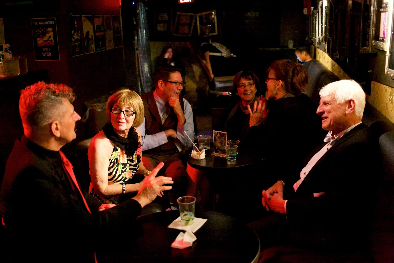 Karen Shod, center; Carl Nash, right; Undine Nash, background right (gesturing)