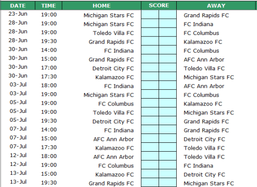 List of 20 remaining matches in the competition.