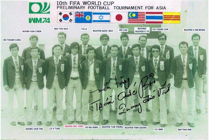 Đội tuyển Bóng tròn Quốc Gia VNCH tham dự vòng dự tuyển tranh giải  World Cup 1974. Nguồn: OntheNet.