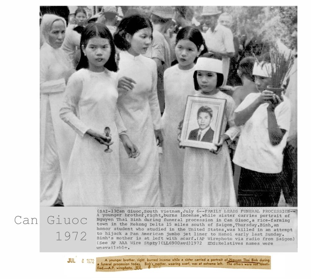 Lể tang của Nguyễn Thái Bình ở Cần Giuộc, Long An, ngày 6 tháng 7, 1972. Nguồn: AP
