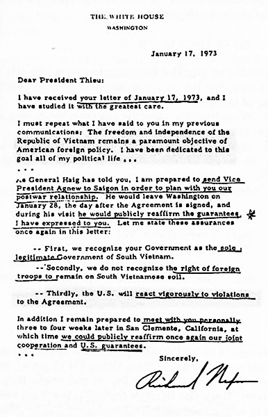 Thư TT Nixon gởi TT Thiệu tháng 1, năm 1973